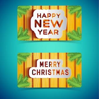 Panneaux de joyeuses fêtes d'hiver décorés de branches de sapin