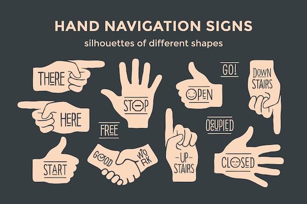 Panneaux de navigation de la main