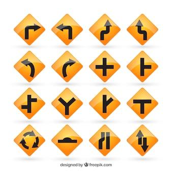 Panneaux routiers jaunes