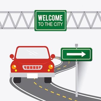 Panneaux routiers.