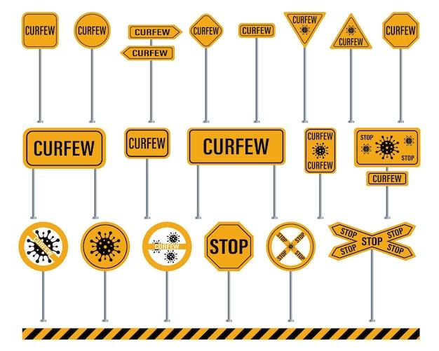 Panneaux de signalisation d'avertissement de couvre-feu isolés sur blanc