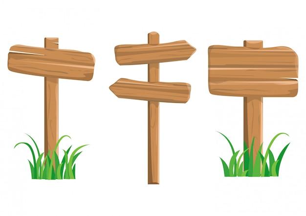 Panneaux de signalisation en bois de dessin animé. illustration
