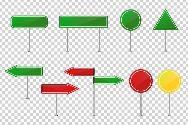 Panneaux de signalisation réalistes pour la décoration et le revêtement sur le fond transparent. concept de prudence routière, de trafic et de logistique.