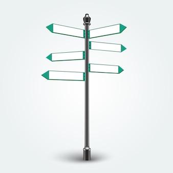 Panneaux de signalisation vide direction vide isolés sur fond