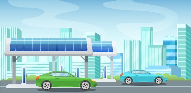 Panneaux solaires, énergie alternative, station-service, recharge des voitures à l'électricité.