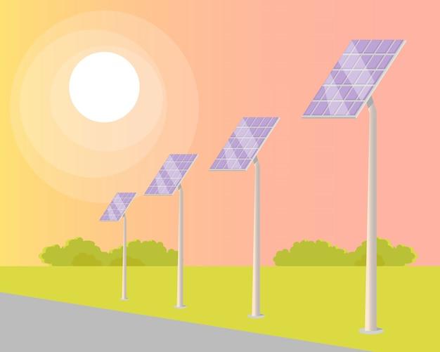 Panneaux solaires tournés vers le soleil brillant le long de la route