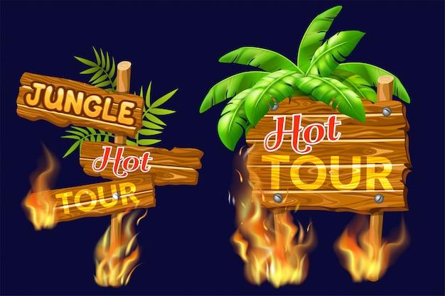 Panneaux de vente en bois avec flamme.