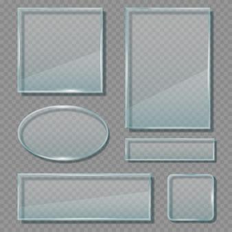 Panneaux de verre. modèle de bannières de formes vides géométriques de cadres réfléchissants transparents acryliques