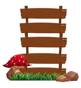 Panneaux vides près de la plante aux champignons rouges