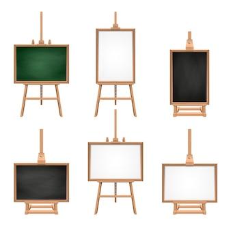Panneaux vierges de couleurs différentes, debout sur des chevalets. images vectorielles isoler sur blanc. planche de bois et toile, illustration de tableau blanc support vide