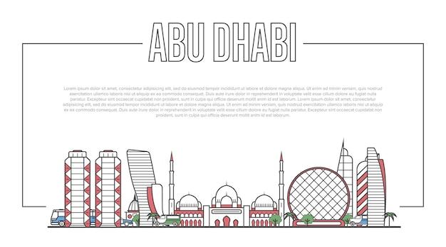 Panorama d'abu dhabi dans un style linéaire