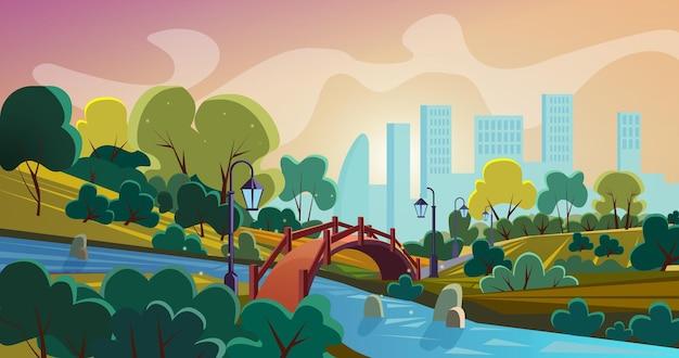 Panorama de dessin animé de parc de la ville avec pont de style ancien au-dessus de la rivière et des gratte-ciel à l'horizon