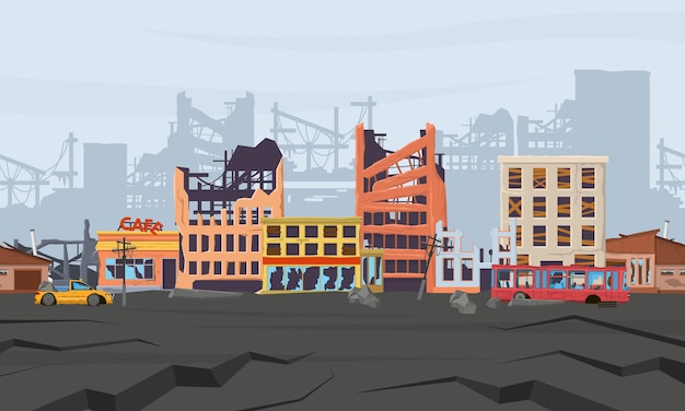 Panorama du district des catastrophes naturelles brisées et abandonnées en ruine. la catastrophe du tremblement de terre a détruit les maisons et les bâtiments de la ville illustration vectorielle. cataclysme détruit la vue sur la rue