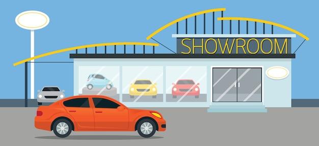 Panorama d'illustration de salle d'exposition de voiture