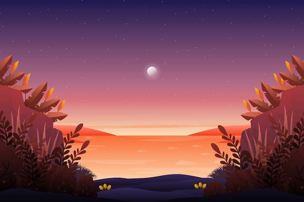 Panorama magnifique ciel coucher de soleil avec vue sur la mer