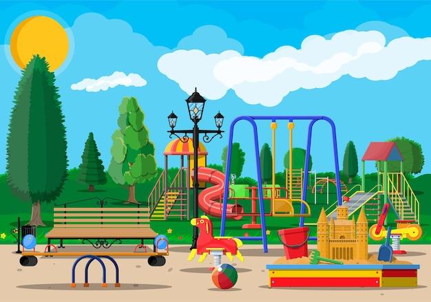 Panorama de la maternelle aire de jeux pour enfants. amusement des enfants urbains.
