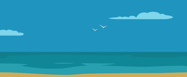 Panorama mer avec vagues et ciel avec nuages. illustration de couleur horizontale plate de vecteur. pour bannière