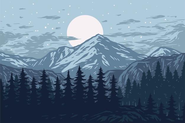 Panorama des montagnes, arbres à feuilles persistantes, fond de paysage
