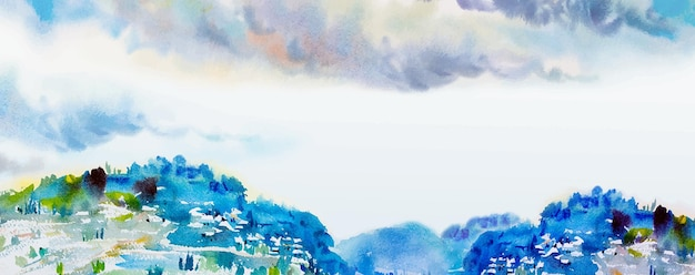 Panorama de peinture de paysage aquarelle abstrait coloré d'arbres de montagne naturels et village en forêt avec fond de nuage de ciel dans la saison printanière de la nature. image d'illustration vectorielle peinte.