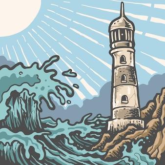 Panorama phare ensoleillé vintage