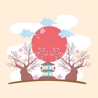 Panorama traditionnel du japon