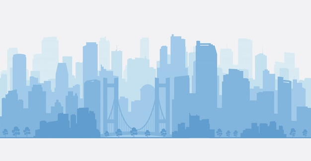 Panorama de la ville avec des gratte-ciels