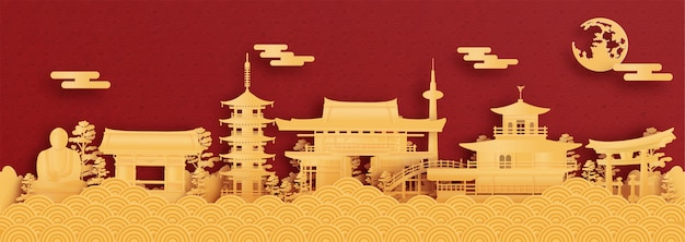 Panorama de yokohama, japon en illustration vectorielle de style papier découpé