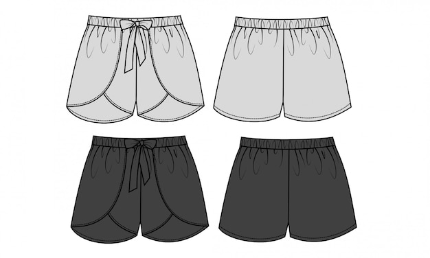 Pantalon court modèle de croquis plat