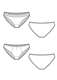 Pantalon de sous-vêtements féminins, illustration vectorielle de lingerie femme