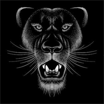 Panthère avec fond noir.
