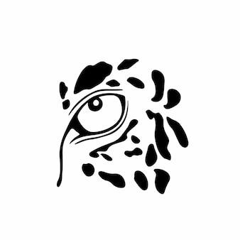 Panthère oeil logo symbole conception pochoir tatouage illustration vectorielle