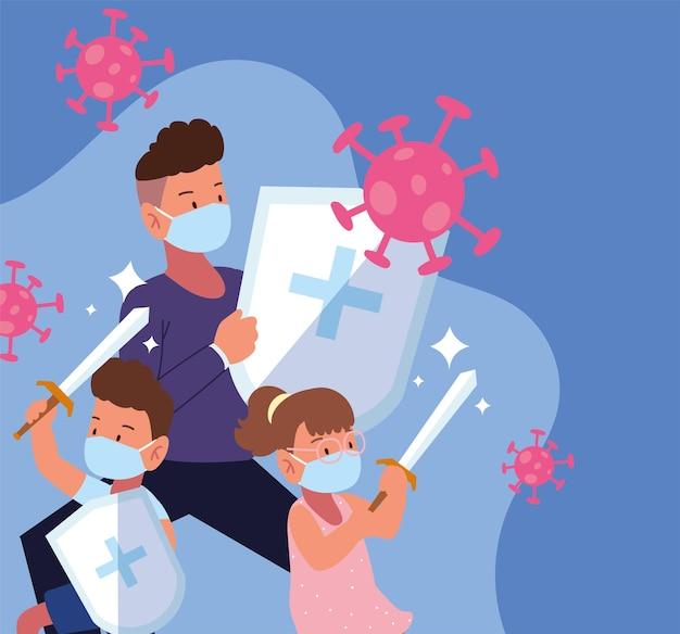 Papa enfants combattant covid avec sowrd et bouclier