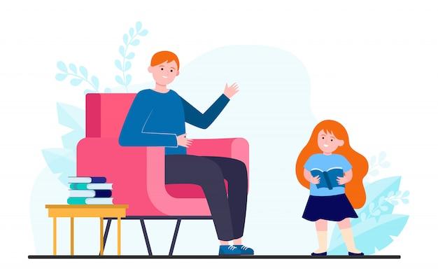 Papa et fille adorent lire