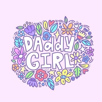 Papa fille main mignon écrit des lettres avec des fleurs de griffonnage.