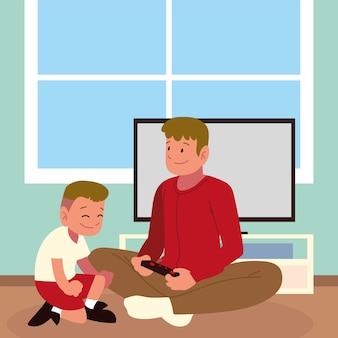 Papa et fils jouant au jeu à la maison
