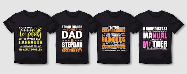 Papa grand-mère mère et chien typographie ensemble de conception de t-shirt