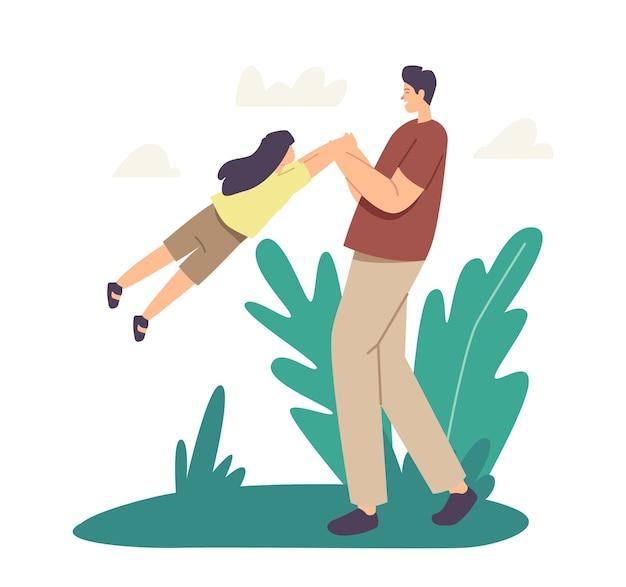 Papa jouant avec un enfant dans le parc. amusement en plein air en famille, loisirs de week-end, jeu, concept de parentalité ou d'enfance. heureux père caractère tourbillonnant et fille de filature. illustration vectorielle de gens de dessin animé