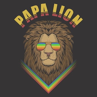 Papa lion avec des lunettes