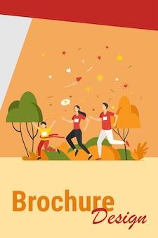 Papa, maman et enfants qui courent ensemble dans le parc isolé illustration vectorielle plane. heureux homme de bande dessinée, femme et enfants jogging marathon. concept de famille et de mode de vie sain