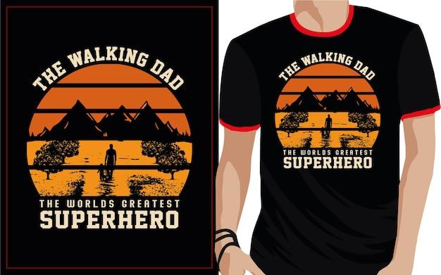 Le papa marchant la plus grande typographie de super-héros du monde t-shirt design
