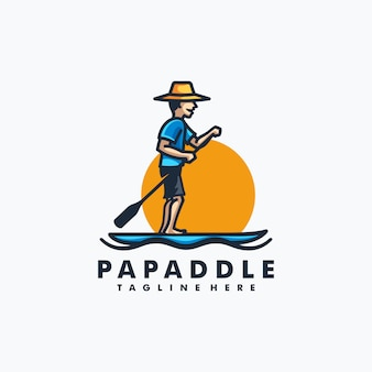 Papa paddle design concept illustration vecteur modèle