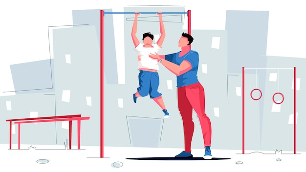 Papa de sport tenant son fils et pratiquant des exercices