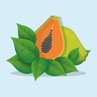 Papaye avec des feuilles naturelles
