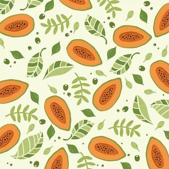 Papaye et motif de feuilles