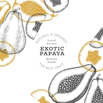 Papaye de style croquis dessinés à la main. illustration de fruits frais biologiques. modèle de conception de fruits rétro