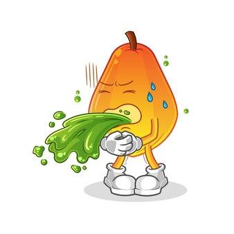 Papaye vomir la bande dessinée. mascotte de dessin animé