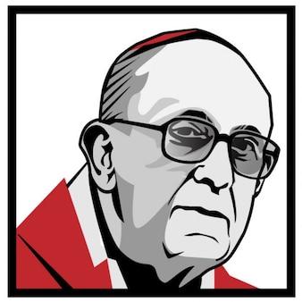Pape francis illustration vectorielle de portrait