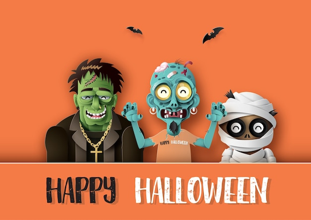 Paper art de happy halloween