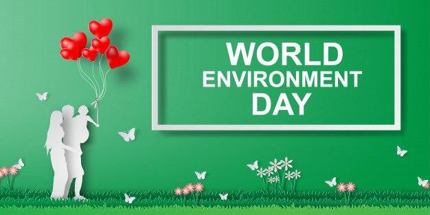 Paper art de la journée mondiale de l'environnement avec plaisir en famille