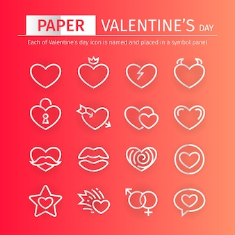 Paper valentines day icons set